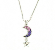 Rhinestone Moon/Star Necklace - Wholesale Color Assortment