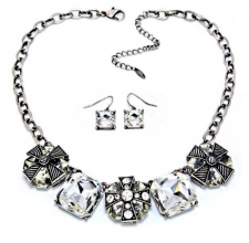 Vintage Victorian Style Jet Crystal Cross Necklace Set
