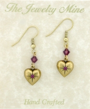 Vintage Victorian Puffed Heart Earrings