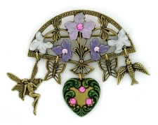 vintage look hand painted fashion brooch