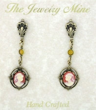 Vintage Inspired Victorian Style Cameo Drop Earrings - Corn