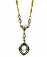 Vintage Inspired Victorian Style Cameo Necklace - Blue