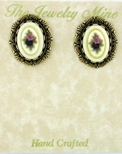 Victorian Button Earrings - Porcelain/Flowers
