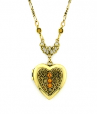 Vintage Chantilly Lace Heart Locket - Topaz