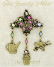 Vintage Reproduction Victorian Style Garden Charm Brooch