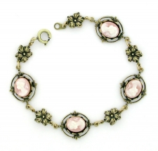 Vintage Inspired Victorian Style Cameo Bracelet - Pink