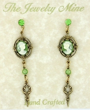 Vintage Victorian Green Cameo Earrings w/Drop