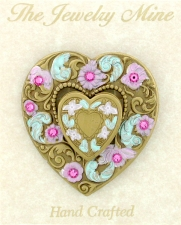 Heart Locket Brooch Pin - Hand Painted