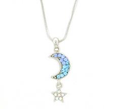 Moon & Star Fashion Necklace - Aqua Austrian Crystal