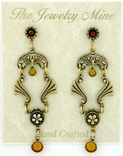 Vintage Victorian Style Topaz Austrian Crystal Chandelier Fashion Earrings