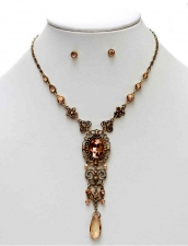 Vintage Style Austrian Crystal Cascading Filigree Necklace Set - Antique Gold/Peach