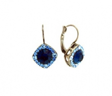 Tiffany Legacy Style Montana Blue Austrian Crystal Lever Back Earrings