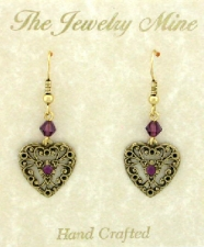 Vintage Filigree Lace Heart Earrings - Amethyst Austrian Crystal