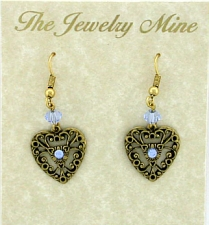 Vintage Victorian Style Lt. Sapphire Austrian Crystal Filigree Heart Earrings