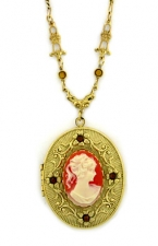 Vintage Victorian Style Cornelian Cameo Locket Necklace