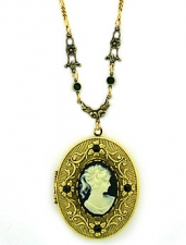 Vintage Victorian Style Black Cameo Locket Necklace