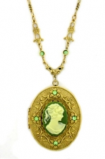 Vintage Victorian Style Peridot Cameo Locket Necklace