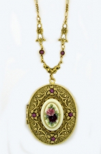 Vintage Victorian Style Porcelain Flowers Cameo Locket Necklace