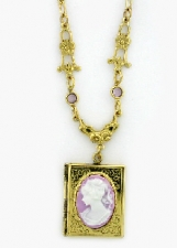 Vintage Victorian Style Lilac Cameo Book Locket Necklace