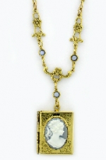 Vintage Victorian Style Blue Cameo Book Locket Necklace