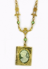 Vintage Victorian Style Green Cameo Book Locket Necklace