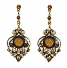 vintage look austrian crystal costume chandelier earrings