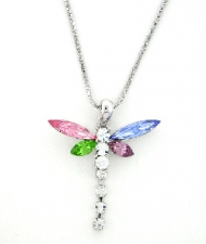 Rhinestone Dragonfly Necklace - Wholesale Color Assortment