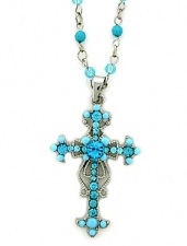 vintage look rosary style austrian crystal cross necklace