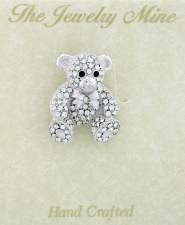 Austrian Crystal Pave' Teddy Bear Fashion Brooch Pin