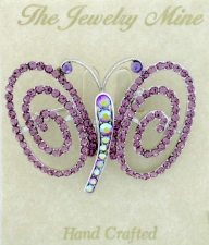 Austrian Crystal Butterfly Brooch Pin