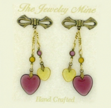 Victorian style puffed heart charm earrings