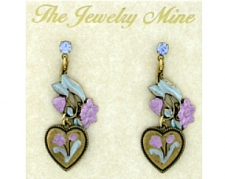 vintage look hand painted heart earrings