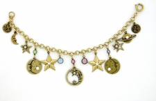 Vintage Style Monns and Stars Charm Bracelet