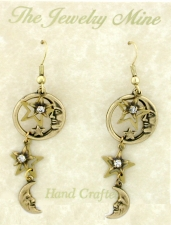 Vintage Style Open Moons & Stars Chandelier Earrings