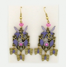 Victorian style hand painted fairy earrings