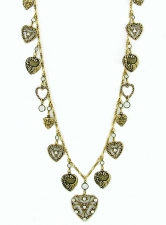 vintage look Victorian style heart charm necklace