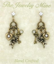 Vintage Victorian Romance Chandelier Earrings - Cherubs & Hearts