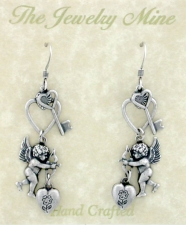 Angel Heart & Key Earrings - Antique Silver