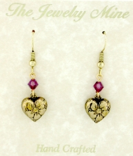 vintage Victorian style puffed heart earrings