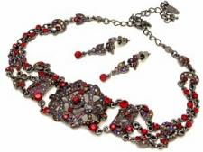 vintage look Victorian style Austrian crystal filigree choker necklace