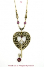 vintage victorian style heart & key necklace