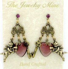vintage chandelier heart earrings