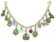 vintage look cat charm fashion bracelet