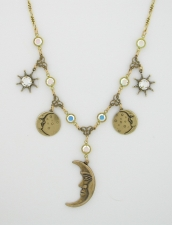 vintage look Austrian crystal moon charm necklace