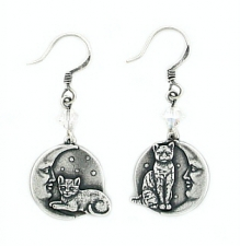 Vintage Inspired Cat On Moon Earrings - Antique Silver Plated