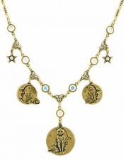 "Vintage Inspired Cats On Moons 18"" Charm Necklace"