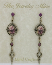 Vintage Victorian Style Drop Earrings - Porcelain/Flowers