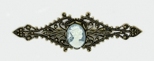 Vintage Look Victorian Style Blue Cameo Filigree Bar Pin