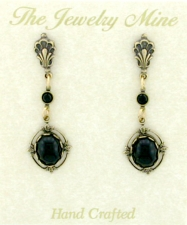 Vintage Reproduction Victorian Style Austrian Crystal Cabochon Drop Earrings - Jet