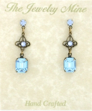 Vintage Filigree Drop Earrings - Lt. Sapphire Austrian Crystal